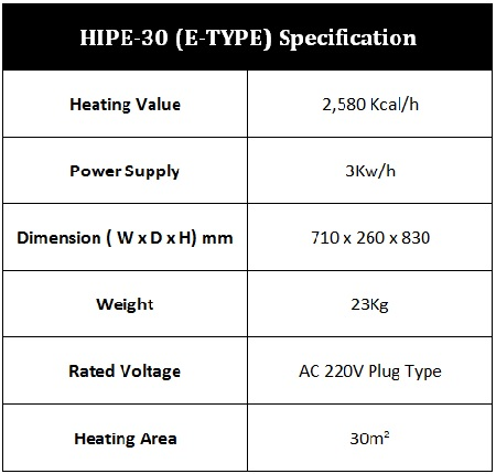 HIPE-30 (E-Type) Product Specification
